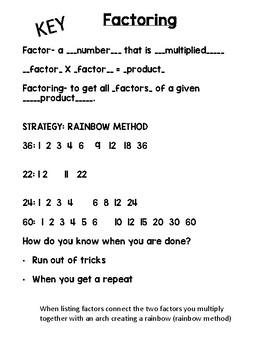 Factoring Journal Notes