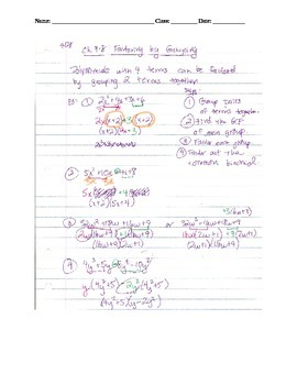 Factoring Lesson 3: Factoring by Grouping