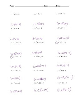 Factoring Lesson 5: Factoring when a = 1 GRADED WORKSHEET