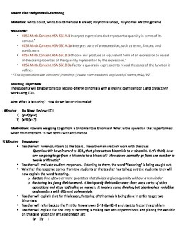 Factoring Lesson, Polynomial Classification Sheet, Matching Game