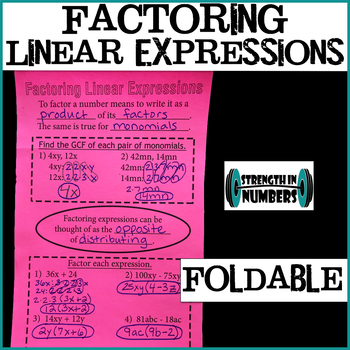 Factoring Linear Expressions Foldable Notes Interactive Notebook