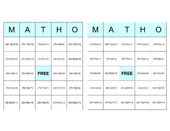 Factoring MATHO (Math BINGO!) a>1