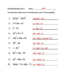 Factoring Mastery Tests