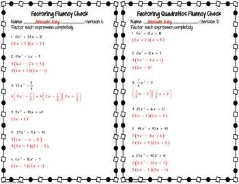 Factoring : Mixed Quadratic Factoring Fluency Check : No Prep Fluent in Math