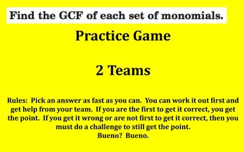 Factoring Monomials Game