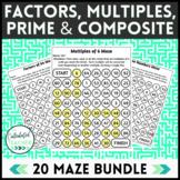 Factoring, Multiples, Prime & Composite Numbers Maze Bundl