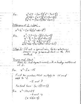 Factoring Notes