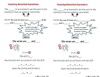 Factoring Numerical Expressions for Interactive Math Notebook