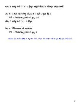 Factoring Packet and Answer Key