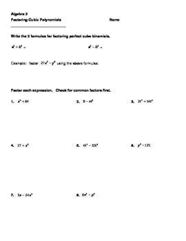 Factoring Perfect Cube Binomials