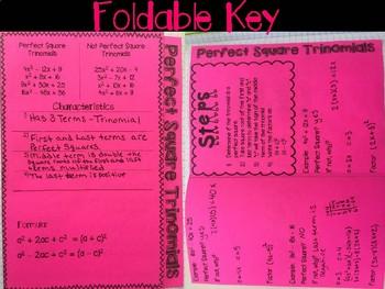 Factoring Perfect Square Trinomial Foldable, INB, Practice, Exit Ticket