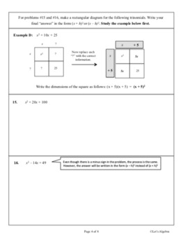 Factoring Perfect Square Trinomials and More (Animated PowerPoints Included)