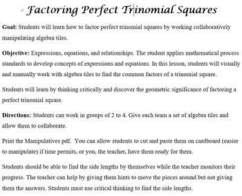 Factoring Perfect Trinomial Squares