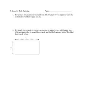 Factoring-Performace Task