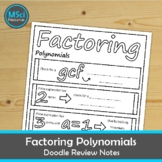 Factoring Polynomial Expressions Algebra Doodle Sheet Math