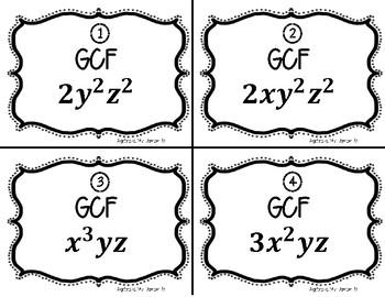 Factoring GCF - TASK CARDS / MATCHING ACTIVITY