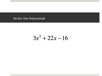 Factoring Polynomial Functions