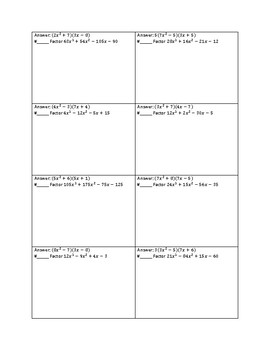 Factoring Polynomial Functions by Grouping Method Circuit Worksheet