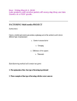 Factoring Polynomial Project