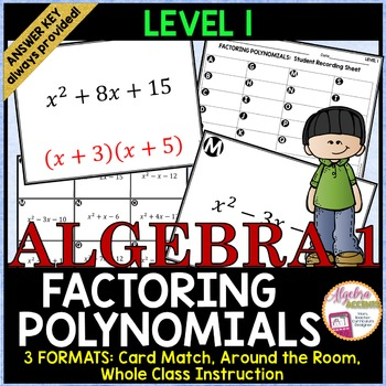 Factoring Trinomials Level 1 Card Match