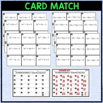 Factoring Trinomials Level 2 Card Match