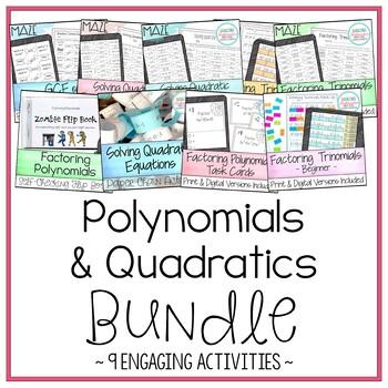 Factoring Polynomials & Solving Quadratic Equations Bundle