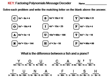 Factoring Polynomials Activity: Math Message Decoder