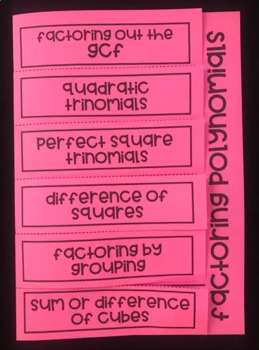 Factoring Polynomials (Algebra 2 Foldable)