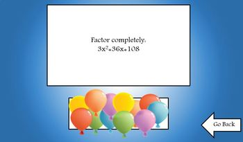 Factoring Polynomials Balloon Pop Koosh Ball Game
