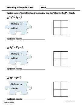 "Factoring Polynomials Box Method ""Puzzles"" 2 Problem Sets SEE VIDEO TOO"