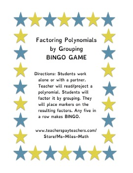 Factoring Polynomials By Grouping BINGO