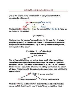 Factoring Polynomials By JK Mergens