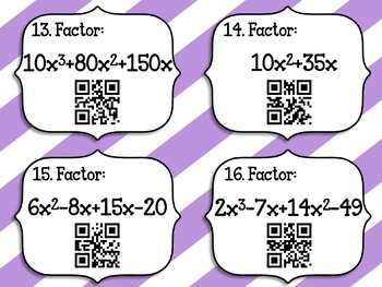 40 Factoring Polynomials QR Code Task Cards w/ Color by Number!