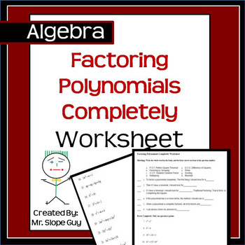 Factoring Polynomials Completely PDF Worksheet Common Core