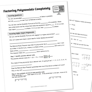 Factoring Polynomials Completely Study Guide (with Synthetic Division)