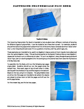 Factoring Polynomials Flip Book