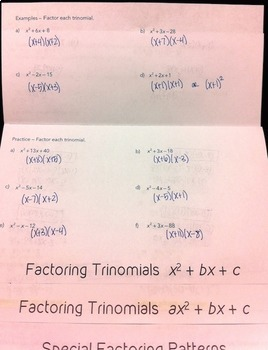 Factoring Polynomials Flipbook by Mrs E Teaches Math | TpT