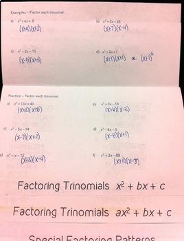 Factoring Polynomials Flipbook