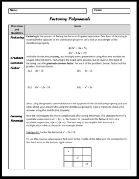 Factoring Polynomials (Greatest Common Factor and Factoring Trinomials)