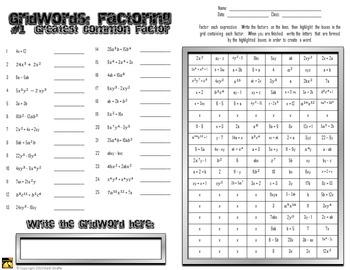 "Factoring Polynomials ""GridWords"" #1: GCF (Greatest Common Factor)"