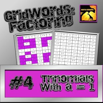 "Factoring Polynomials ""GridWords"" #4: Trinomials (with a = 1)"