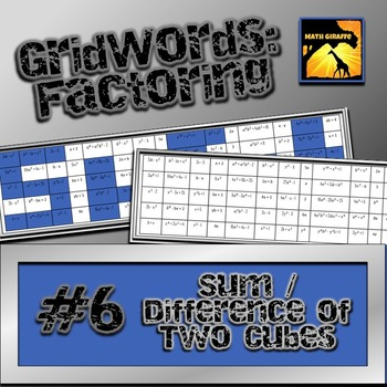"Factoring Polynomials ""GridWords"" #6: Sum or Difference of Two Cubes"