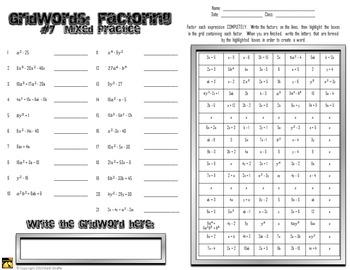 "Factoring Polynomials ""GridWords"" #7: Mixed Practice"