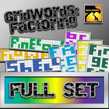 Factoring Polynomials Gridwords Full Set By Math Giraffe Tpt