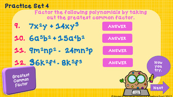 Factoring Polynomials Lesson 1 Greatest Common Factor Practice & Game PREP FREE