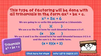 Factoring Polynomials Lesson 2 Trinomials x2 + bx + c Practice & Game PREP FREE