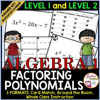 Factoring Trinomials Card Match LEVEL 1 and LEVEL 2 COMBO PACK