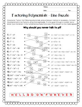 Factoring Polynomials: Line Puzzle Activity