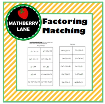 Factoring Polynomials Matching