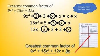 Factoring Polynomials Math Powerpoint + Practice worksheet & Answers